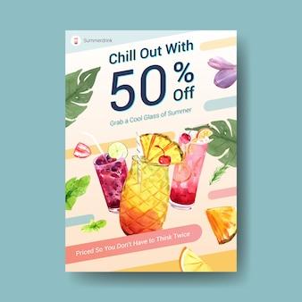 Modèle d'affiche de boisson d'été
