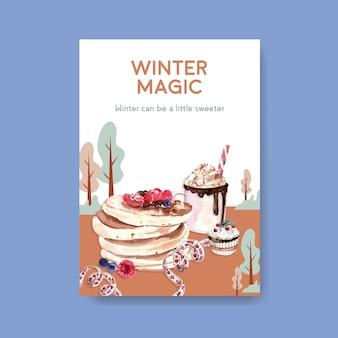 Modèle d'affiche avec des bonbons d'hiver dans un style aquarelle