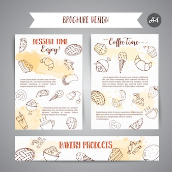 Modèle d'affiche de boulangerie avec des pâtisseries.