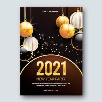 Modèle d'affiche de boules de noël nouvel an 2021