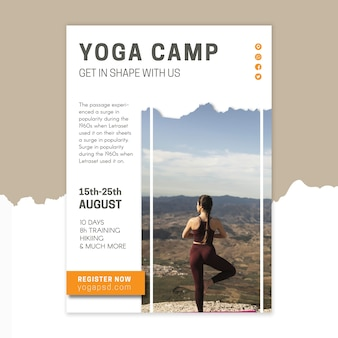 Modèle d'affiche de camp de yoga