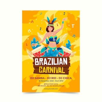 Modèle d'affiche de carnaval brésilien dessiné à la main