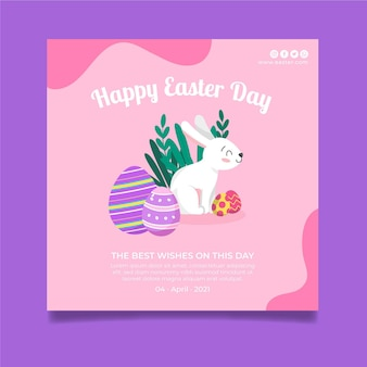 Modèle d'affiche carrée pour pâques avec lapin et oeufs
