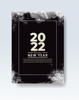 Modèle d'affiche ou de carte de bonne année 2022 avec éclaboussures de lavage à l'aquarelle