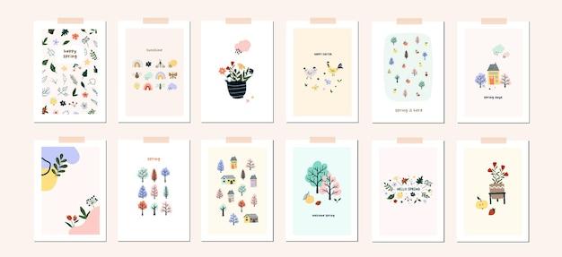 Modèle d'affiche de carte de voeux printemps pâques humeur. bienvenue invitation de saison de printemps. feuilles de nature carte postale minimaliste, arbre, fleur, maisons, formes abstraites. illustration vectorielle en style cartoon plat
