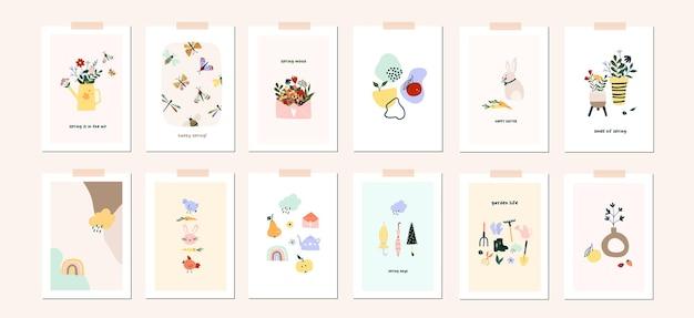 Modèle d'affiche de carte de voeux printemps pâques humeur. bienvenue invitation de saison de printemps. feuilles de nature carte postale minimaliste, arbre, fleurs, maisons, formes abstraites. illustration vectorielle en style cartoon plat