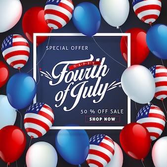Modèle d'affiche de célébration de la fête de l'indépendance des états-unis.