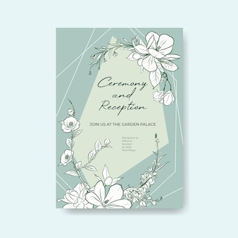Modèle d'affiche avec cérémonie de mariage pour brochure et dépliant