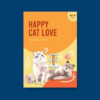 Modèle d'affiche avec chat mignon