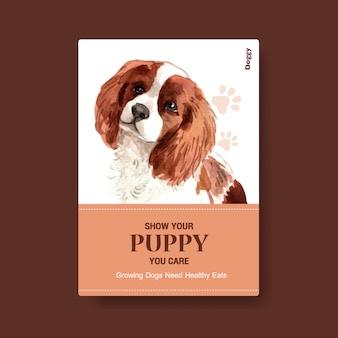 Modèle d'affiche avec chien