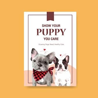 Modèle d'affiche avec des chiens