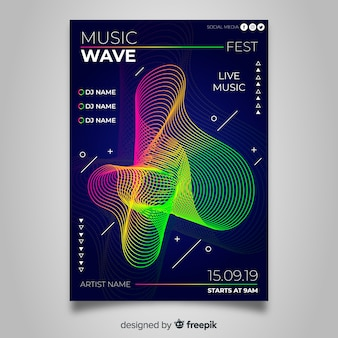 Modèle d'affiche coloré musique abstraite