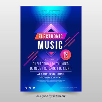 Modèle d'affiche coloré musique électronique abstraite