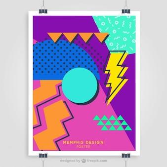 Le modèle d'affiche colorée de 80