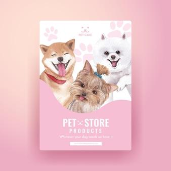 Modèle d'affiche avec concept de chien mignon, style aquarelle