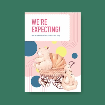 Modèle d'affiche avec le concept de conception de douche de bébé pour la publicité et la commercialisation d'illustration vectorielle aquarelle.