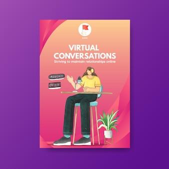 Modèle d'affiche avec concept de conversation en direct, style aquarelle