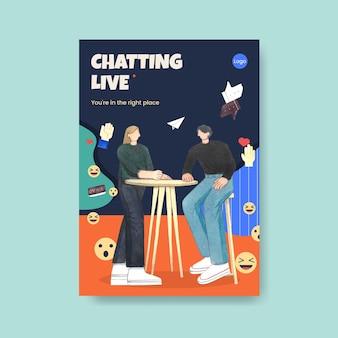 Modèle d'affiche avec concept de conversation en direct