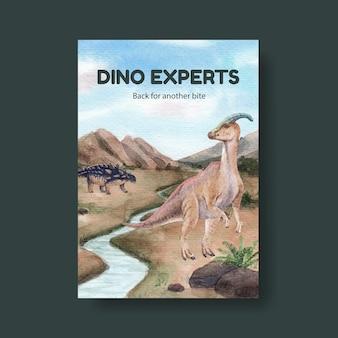 Modèle d'affiche avec concept de dinosaure, style aquarelle