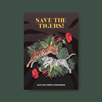 Modèle d'affiche avec le concept de la journée internationale du tigre, style aquarelle