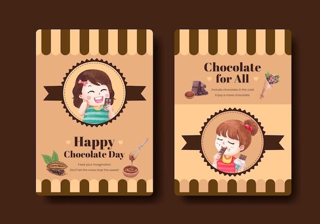 Modèle d'affiche avec le concept de la journée mondiale du chocolat