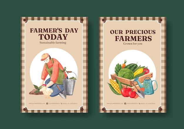 Modèle d'affiche avec le concept de la journée nationale des agriculteurs, style aquarelle