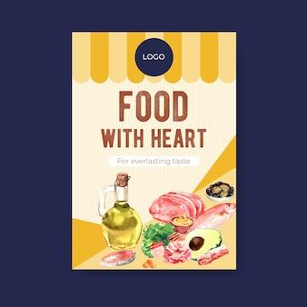 Modèle d'affiche avec le concept de régime cétogène pour la publicité et l'illustration aquarelle de brochure.