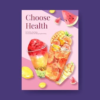 Modèle d'affiche avec concept de smoothies aux fruits