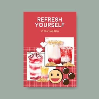 Modèle d'affiche avec concept de thé au lait à bulles