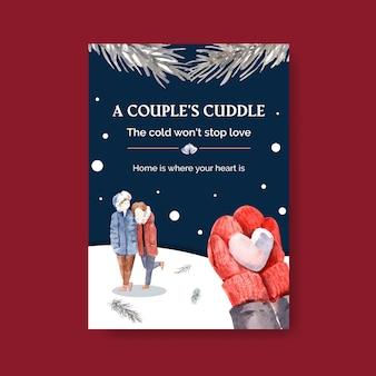 Modèle d'affiche avec la conception de concept d'amour d'hiver pour les annonces et l'illustration vectorielle aquarelle marketing