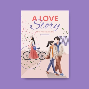 Modèle d'affiche avec la conception de concept d'amour paradisiaque pour la publicité et le marketing illustration aquarelle