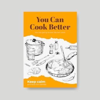 Modèle d'affiche avec la conception de concept d'appareils de cuisine pour la publicité d'illustration vectorielle