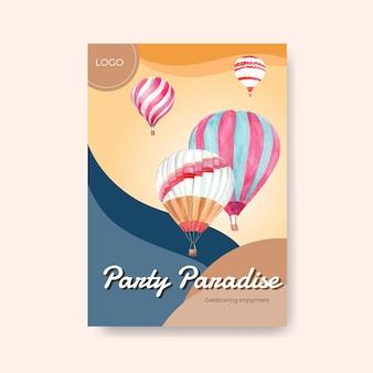 Modèle d'affiche avec la conception de concept ballon fiesta pour la publicité et la brochure illustration aquarelle
