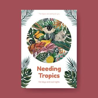 Modèle d'affiche avec conception de concept contemporain tropical pour la publicité et le marketing illustration aquarelle