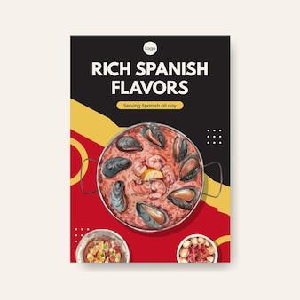 Modèle d'affiche avec la conception de concept de cuisine espagnole pour illustration aquarelle brochure et dépliant