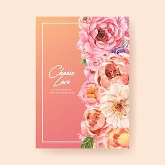 Modèle d'affiche avec la conception de concept de floraison d'amour pour la publicité et le marketing illustration aquarelle