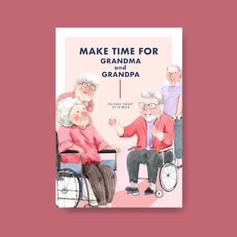 Modèle d'affiche avec la conception de concept de jour national des grands-parents pour la publicité et l'aquarelle de brochure.