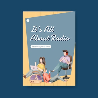 Modèle d'affiche avec la conception de concept de journée mondiale de la radio pour la publicité et l'illustration aquarelle d'entreprise