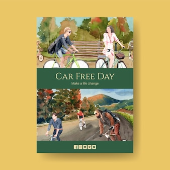 Modèle d'affiche avec la conception de concept de la journée mondiale sans voiture pour l'aquarelle de brochure et de dépliant.