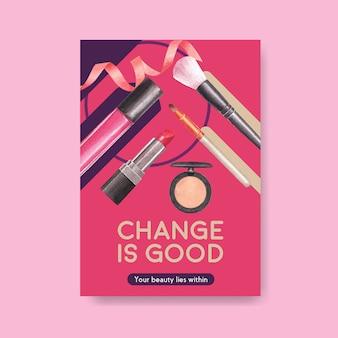 Modèle d'affiche avec conception de concept de maquillage pour aquarelle brochure et dépliant.