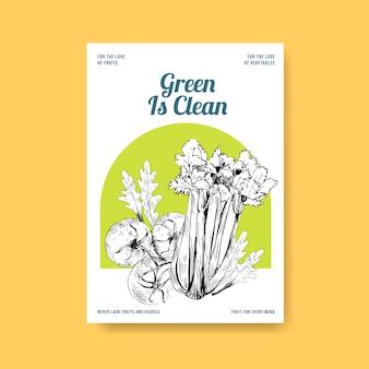 Modèle d'affiche avec la conception de concept de nourriture végétalienne.