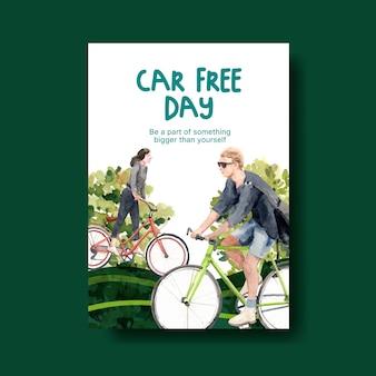 Modèle d'affiche avec la conception du concept de la journée mondiale sans voiture