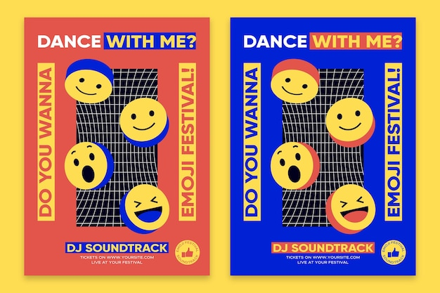 Modèle d'affiche de conception plate affiche acide emoji