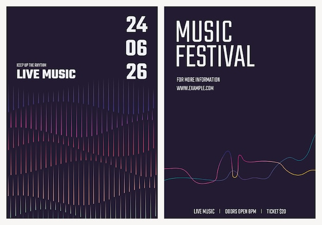 Modèle d'affiche de concert de musique avec des graphiques d'ondes sonores pour l'ensemble de publicité