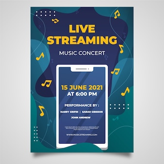 Modèle d'affiche de concert de musique en streaming en direct dessiné à la main