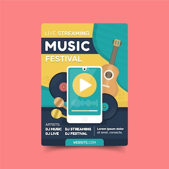 Modèle d'affiche de concert de musique en streaming en direct