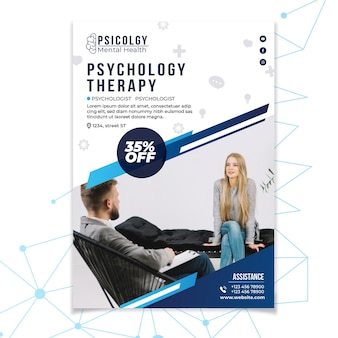 Modèle d'affiche de consultation de psychologie de la santé mentale
