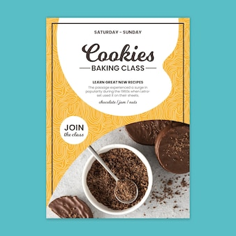 Modèle d'affiche de cours de cuisson de cookies