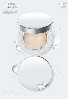 Modèle d'affiche de coussin de maquillage en poudre illustration vectorielle