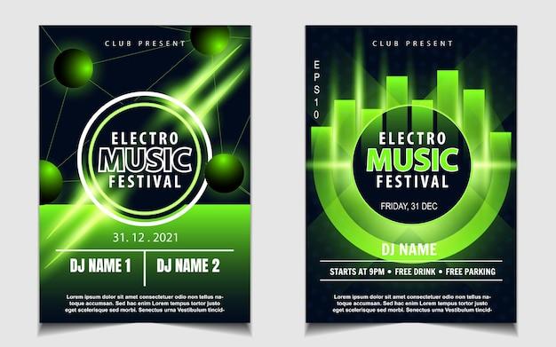 Modèle d'affiche de couverture pour le festival de musique électronique